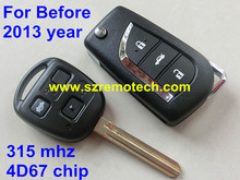 Before 2013 year 3 Button Remote Control Key For Toyota Prado,Alphard, Land Cruiser With TOY43 Blade 315 MHZ with 4D67 chip