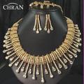 CHRAN Sparkling Austrian Crystal Costume Bridal Jewelry Women Accessories Fashion Gold Color Rhinestone Wedding Jewelry Set
