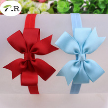 """3.5"""" solid grosgrain ribbon bow with foe elastic headband,100pcs/lot, 150 pink/550 apple green, mixed color is ok(China (Mainland))"""