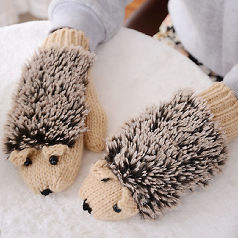 New Attracive Autumn Winter Gloves Women Mittens Cute Lovely Cartoon Knitted Hedgehog Glove Guantes Tacticos Girls Luva ST6101(China (Mainland))