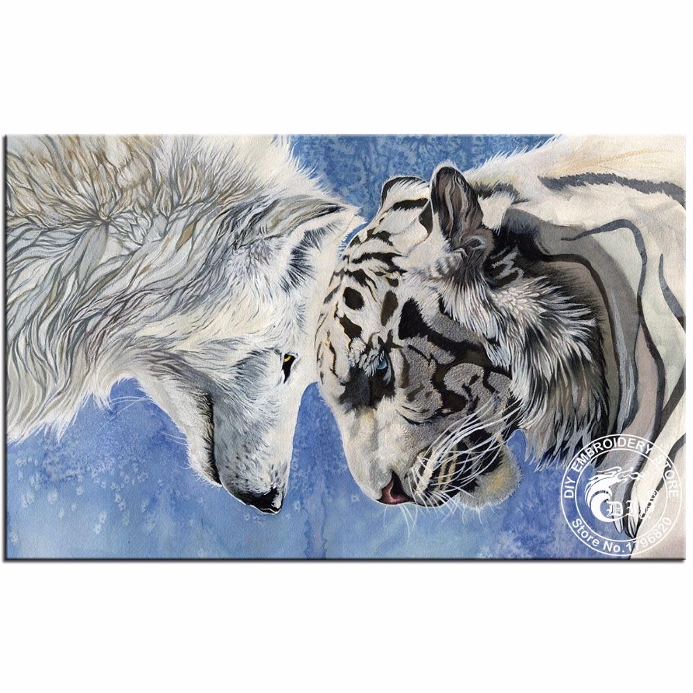 DIY Full Square Diamond Painting Wolf VS Tiger Picture Of Rhinestones Handicraft Needlework Kits Home Decor Diamond Embroidery(China (Mainland))