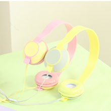 2016 New Arrival Candy Color Cute Headphones Macaroon Foldable Kids Headset with Mic Earphone for Mp3 Smartphone Free Shipping
