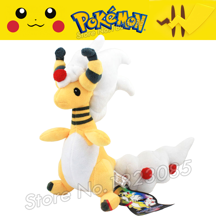 No.181 Anime Pokemon Center Mega Ampharos Plush Toy Soft Plush 28cm Cartoon Stuffed Plush Animals Kids Gift Free Shipping(China (Mainland))
