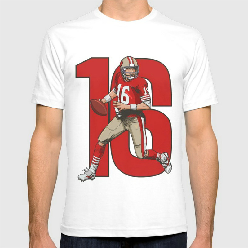 Joe montana 49ers Fashion classic cotton men round collar short sleeve T-shirt design(China (Mainland))