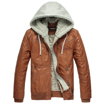 2013 spring new arrival faux two piece leather clothing male slim leather jacket leather clothing coat men's clothing