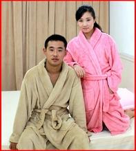 Winter lovers male Women coral fleece robe bathrobes sleepwear thickening lengthen(China (Mainland))