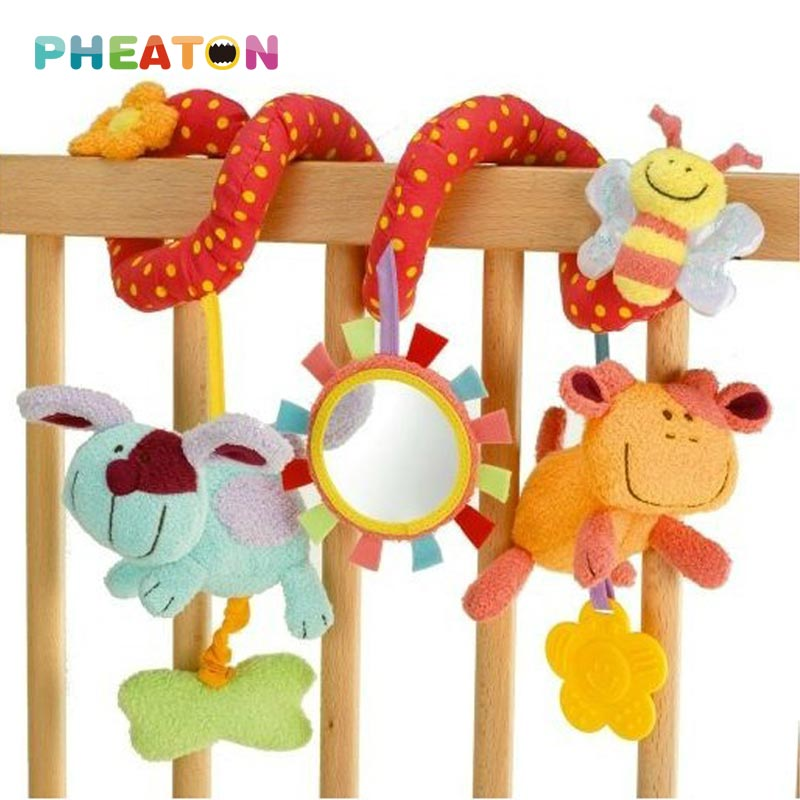 Spiral Activity Stroller Car Seat Baby Rattles Hanging Babyplay Travel Baby Toys Plush Animal Teether Cute Musical Kids Toy(China (Mainland))