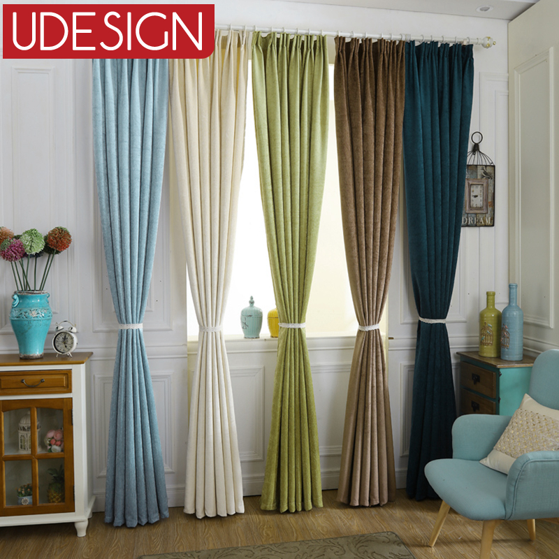 Luxury Chenile Blue Thick Blackout Curtains for Living Room Bedroom Curtains Modern Window Curtains Kitchen Drapes Ready Made