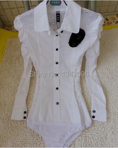 Puff Sleeve Bead Flower Diamonds Back Bodysuit Blouse Ladies Slim Waist White Shirts Jumpsuit - Wj-S Special Fashion Shop store