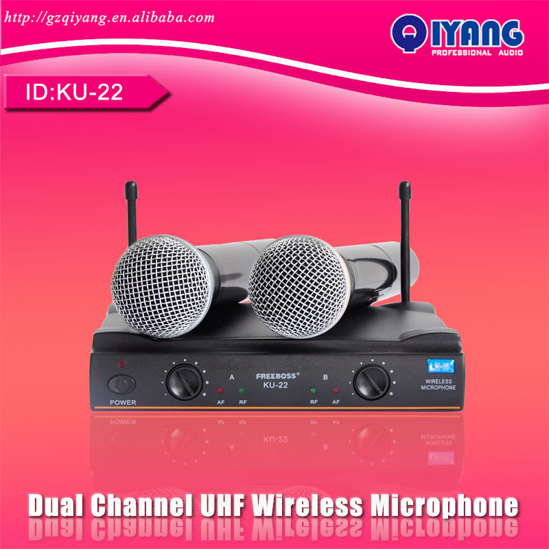 UHF Long Range Dual Channel 2 Handheld Mic Transmitter Professional Karaoke UHF Wireless Microphone System electronics KU-22(China (Mainland))