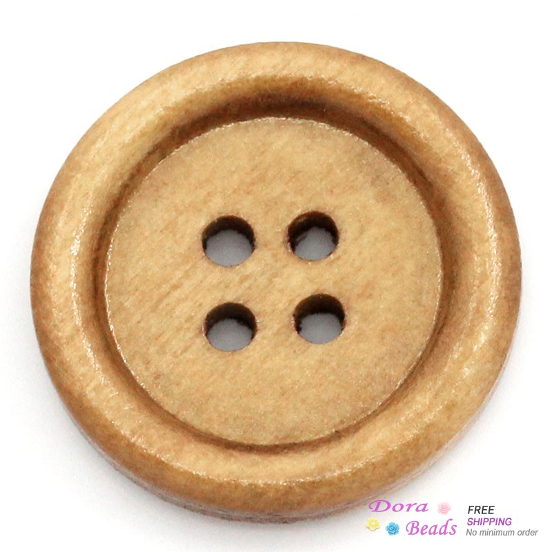 Wood Sewing Buttons Scrapbooking Round Light Coffee 4 Holes 20mm Dia,100PCs (B24221)8seasons(China (Mainland))