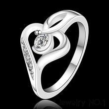 Rings Wholesale Jewelry Synthetic Crystal Heart Silver Plated Rings Jewelry For Women High Quality Finger Ring Free Shipping(China (Mainland))