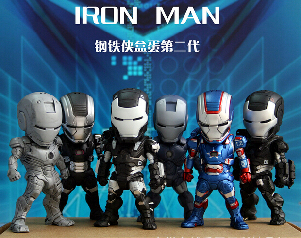 6pcs/Lot IRON MAN Marvel DC Movie IronMan Mini Egg Attack with LED Action Figure 9cm With Box juguete brinquedo Free Shipping<br><br>Aliexpress