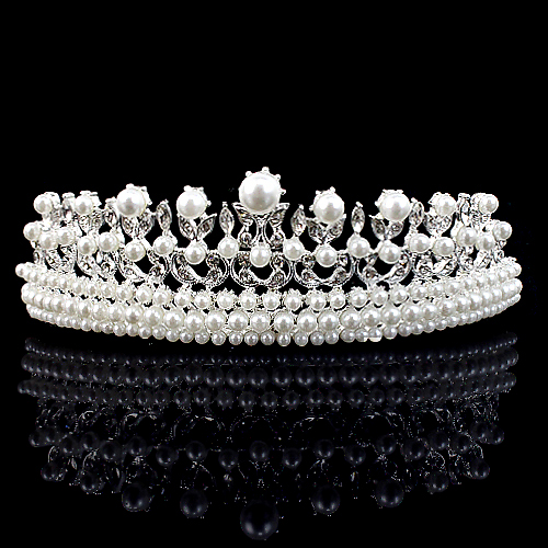 Elegant Pearl Rhinestone inlay Crown Tiara Hair Comb Drop free Shipping wedding tiara