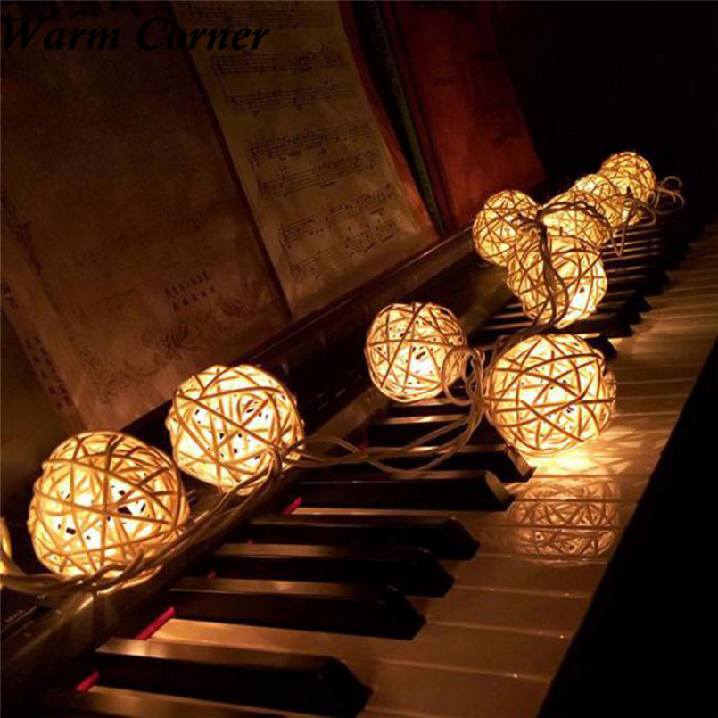 Warm Corner 10 LED 3 Colors 1.2m Color Rattan Ball String Fairy Light For Xmas Wedding Party Hot Sales Gifts Free Shipping Nov 1