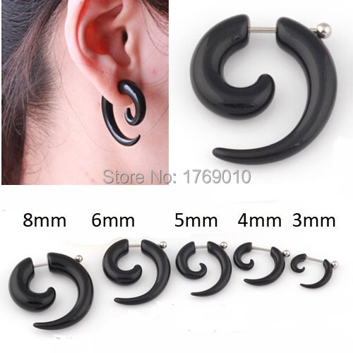 In Stock Brand New 2PCS/Lot Unisex Fashion  Fake Spiral Snail Ear Expanders Earring Plugs Body Piercing Jewelry Black(China (Mainland))
