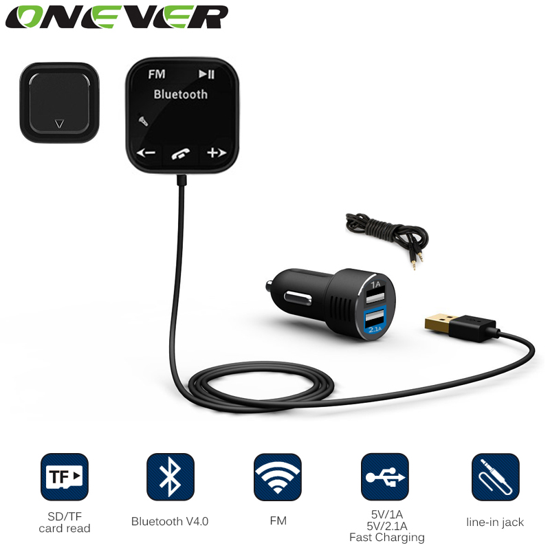 Onever Car MP3 Player Bluetooth FM Transmitter Car Kit HandsFree Magnetic Base With Dual USB Car Charger FM Modulator for iPhone(China (Mainland))