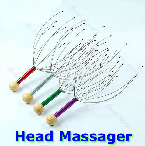 U119 Free Shipping Hot Head Neck Scalp Massager Massage Equipment Stress Relax With Wood Handle(China (Mainland))