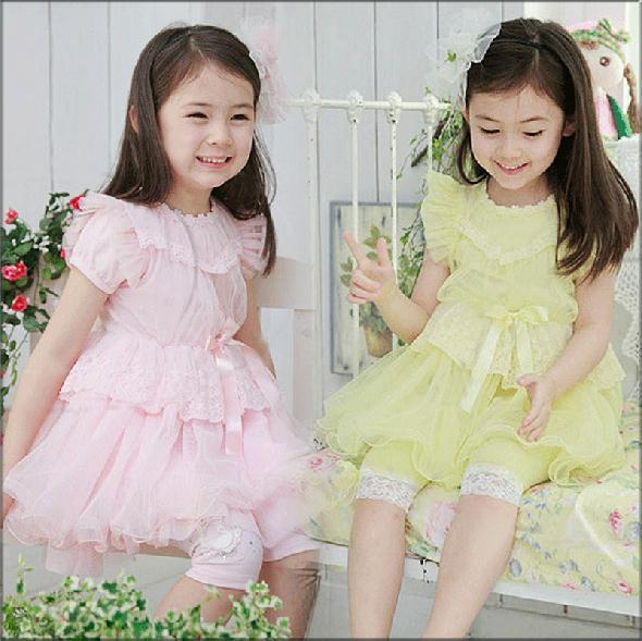 Бесплатная доставка 2014 новая девушки летнее платье свободного покроя кружева свадебные платья дети девушка ну вечеринку платья платье принцессы