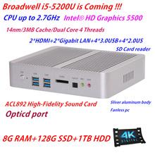 Intel пятого поколения Core i5 5200u 8 г оперативной памяти 128 г SSD 1 ТБ HDD HD 5500 HD 4 К безвентиляторный мини-itx пк Windows , HTPC TV Wintel коробке 4 К