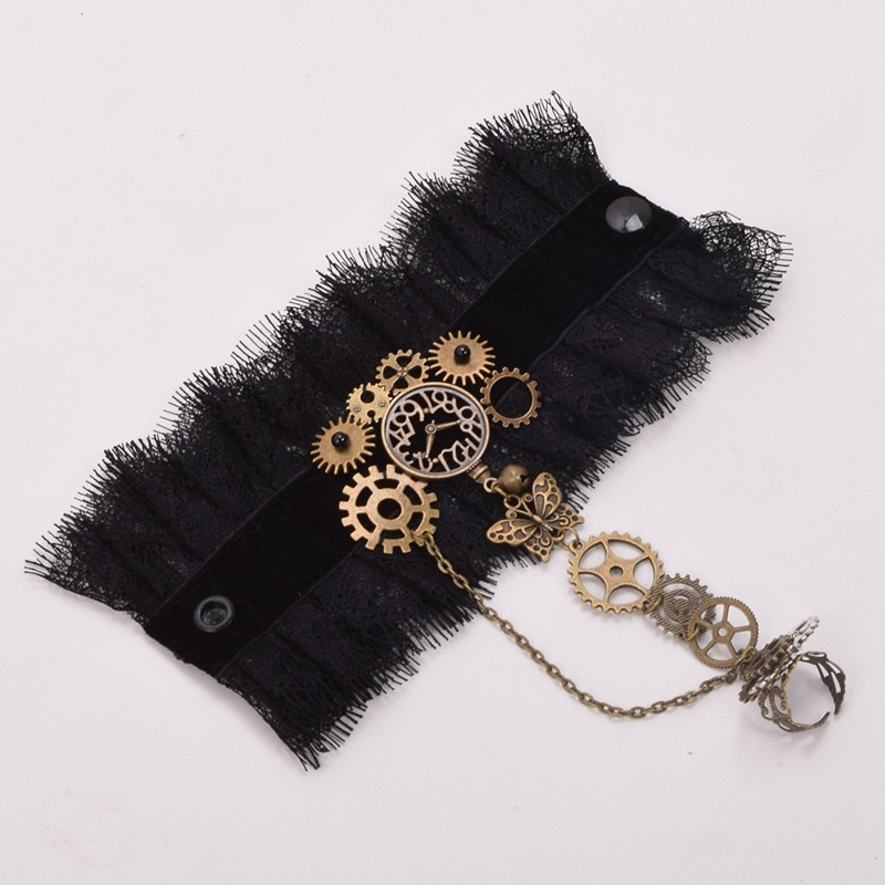 1pc Lady Steampunk Lace Bracelet Gears Butterfly