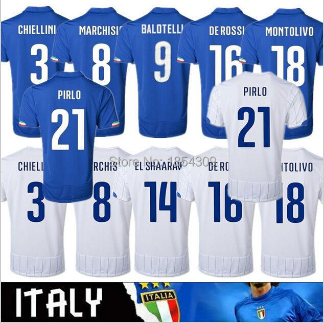 2015 italia coppa del mondo home calcio assente azzuro italia jersey 2014 balotelli pirlo de rossi calcio jersey spedizione gratuita(China (Mainland))