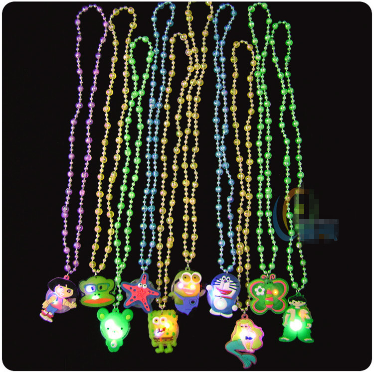 100pcs/lot Cartoon Series LED flashing pendant necklace luminous toys glowing in the dark party toy kids cheap small party gift(China (Mainland))