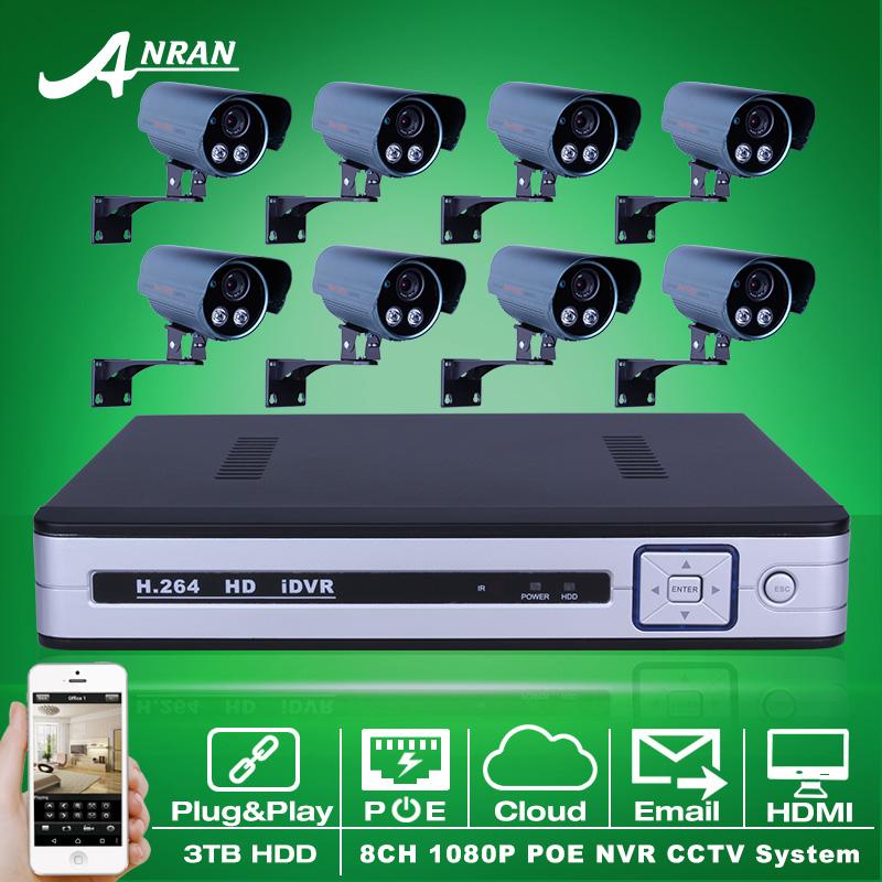 Plug And Play 8CH NVR Surveillance Kit Onvif 2.0MP HD Sony Sensor IR POE IP Camera 1080P Outdoor Security CCTV System 3TB HDD(China (Mainland))