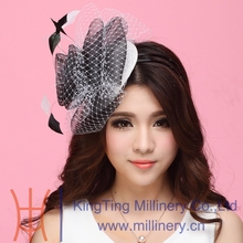 Free Shipping New Beautiful Women Fascinator Hats Hair Accessories Wedding Accessories Mesh Veilings Hairdress Flowers Hairbands