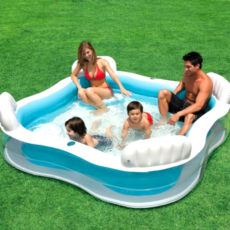 Large Size Family Inflatable Square Swimming Pool With Seats And Backrest Home Use Parent-child Interaction Play Swimming Pool(China (Mainland))