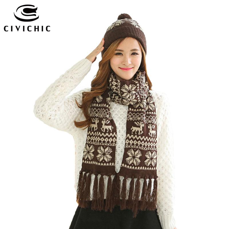 CIVICHIC 5 Colors Handmade Winter Thicken Knitted Scarf Hat Set Crochet Pompon Headwear Twist Warm Faux Wool Shawl Warmer SH111