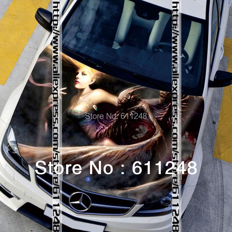 Car styling sticker car covers hood protection film 3d cartoon girls stickers Waterproof inkjet sticker 120*150cm/135*150cm(China (Mainland))