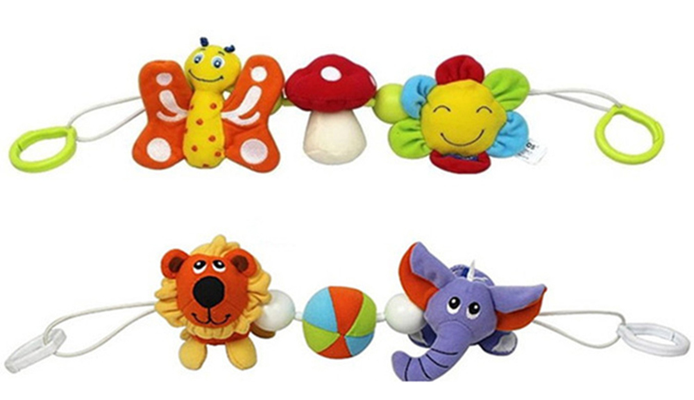 Wholesale mobile baby toy educational baby bed car stroller hanging rattles toys for kids baby cot beds plush toys kawaii animal