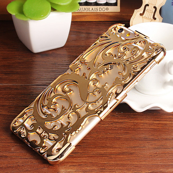 Fashion Artistic Carving Hollow Out Plating Phone Case For iPhone 6 Plastic Back Cover For Apple iPhone 6 4.7 Plus 5.5