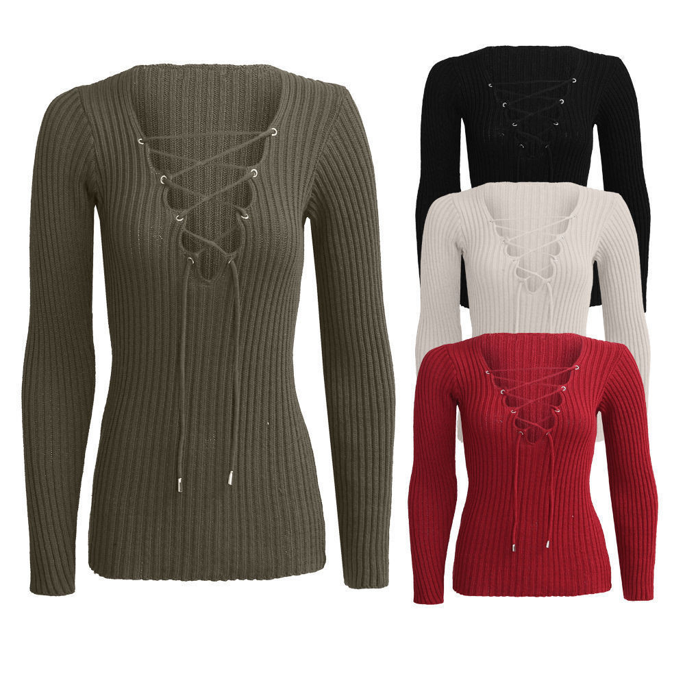 2016 Women sexy deep v neck lace up knitted sweater long sleeve women pullover sweaters pull femme jumpers bdoycon tops(China (Mainland))