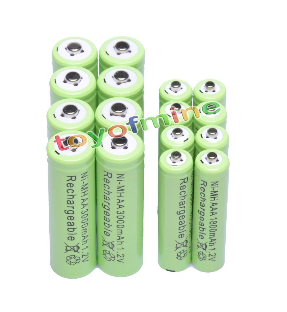 8x AA 3000mAh + 8x AAA 1800mAh 1.2V NiMH Green Color Rechargeable Battery Cell 2A 3A(China (Mainland))