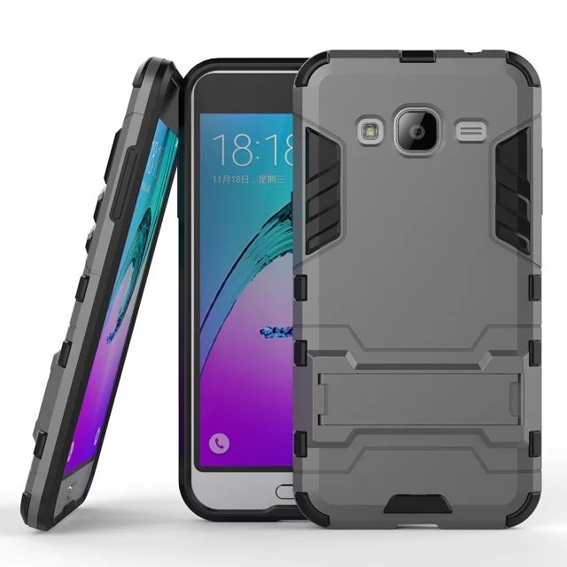 Armor Case For Samsung Galaxy J3 2016 J320 J320F Heavy Duty Hybrid Hard Rugged Plastic Rubber Kickstand Phone Cover Case Coque <(China (Mainland))