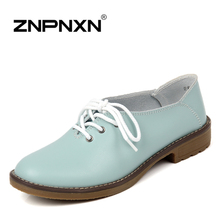 ZNPNXN 2016 New Women's Flats Casual Shoes Lace Up Women Genuine Leather Shoes Sapatos Femininos Sapatilha(China (Mainland))