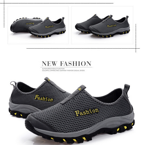 2015 spring summer outdoor Men shoes breathable hiking sneaker foot comfortable wrapping ha red blue gray black - DFKC FASHION store