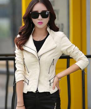 Воротник-мандарин женщин куртки Бежевый белый кожа одежда приталенный мотоцикл кожа ...
