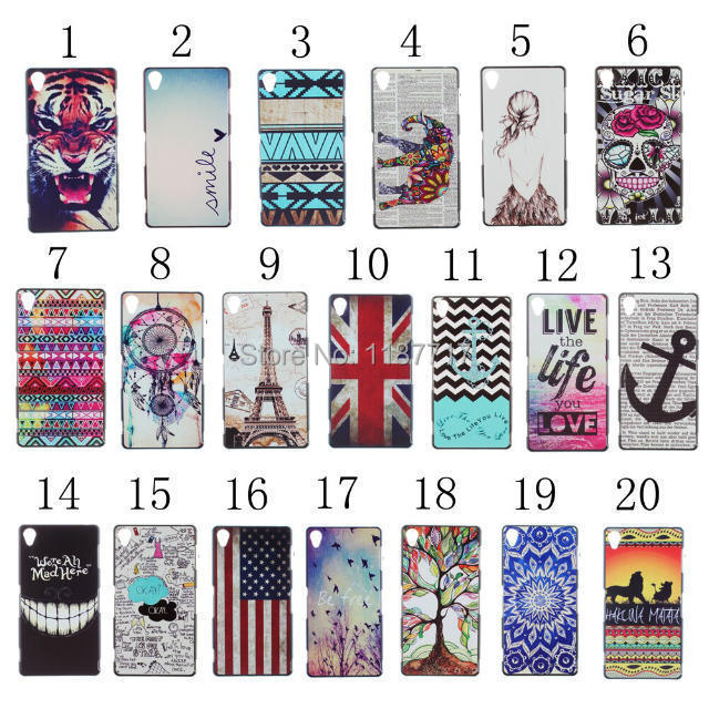 10pcs/lot free shipping Colorful Flower UK/ USA National flag Hard Case Cover For Sony Xperia Z3(China (Mainland))
