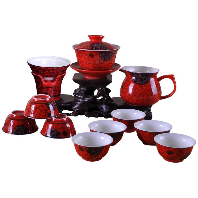 Jerry Ceramic tea set China s high end red glaze tea sets 11 LanTeng flowers Kung