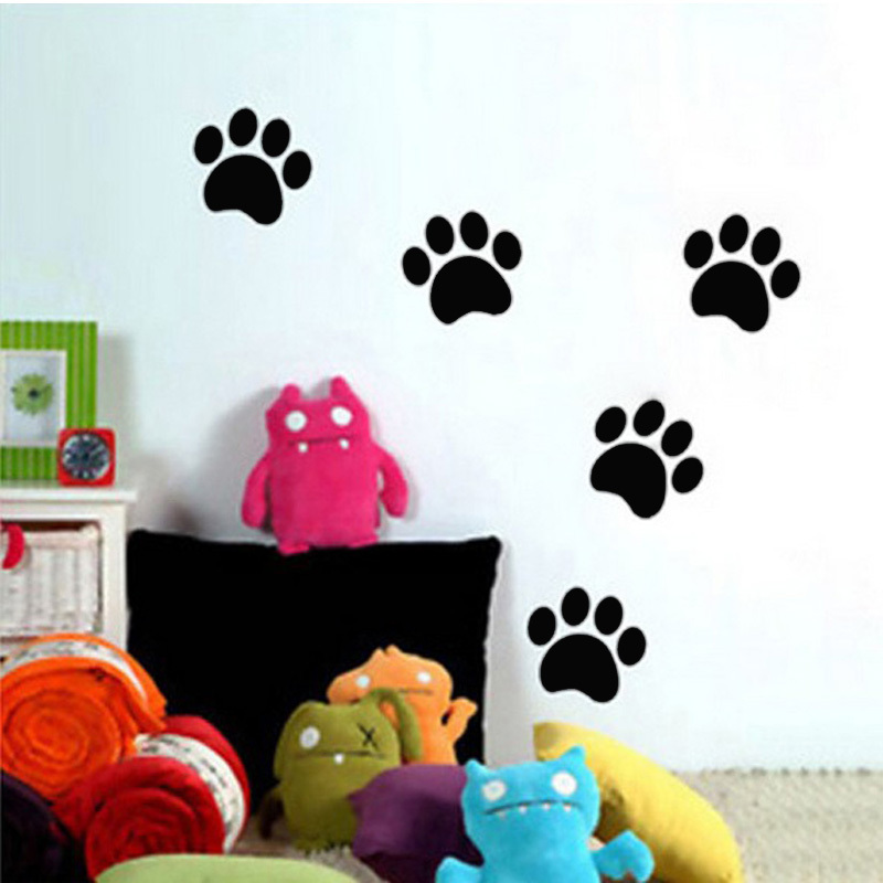 BucKoo 5 Pcs Cute Dog Paw Print Vinyl Removable DIY Vinyl Waterproof Baby Room Wall Sticker For Home Decor AK102(China (Mainland))