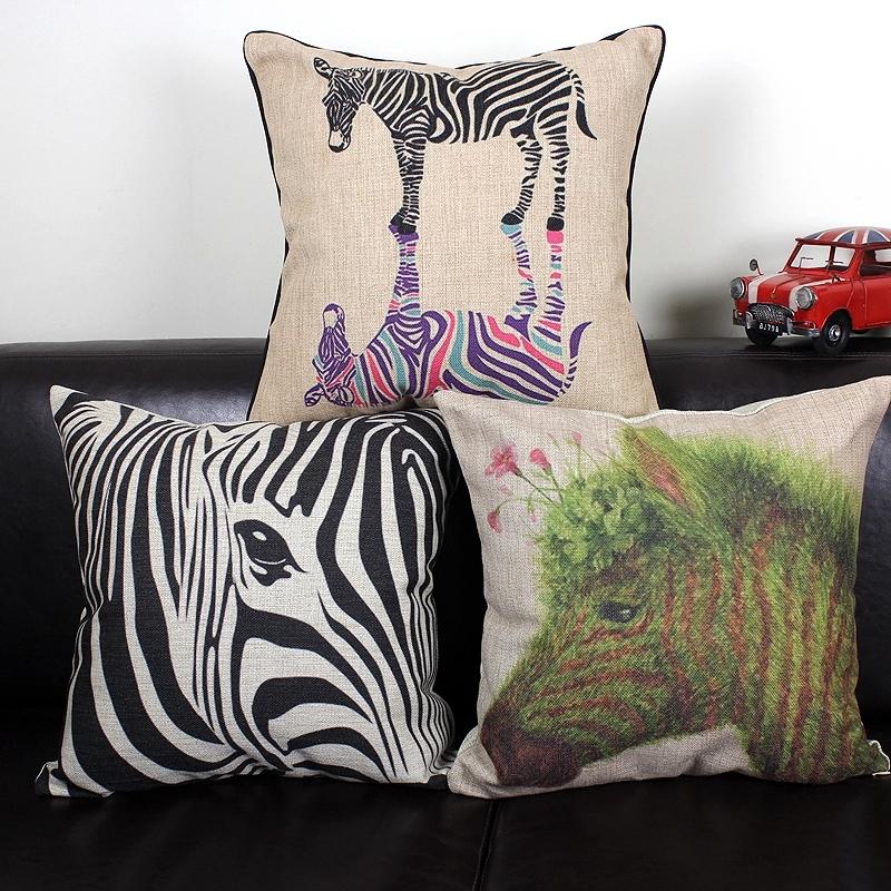 Cute Zebra Pillow : Zebra pillow case, Zebra pillowcase, animal cute cartoon Oil Painting Zebra throw pillow case ...