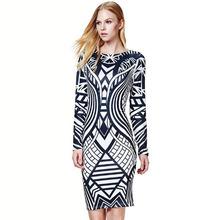 Rrwin Vestidos 2015 Newest Autumn Style Fashion Desigual Brands Sexy Club Women Dresses Long Sleeve Print Bodycon Bandage Dress