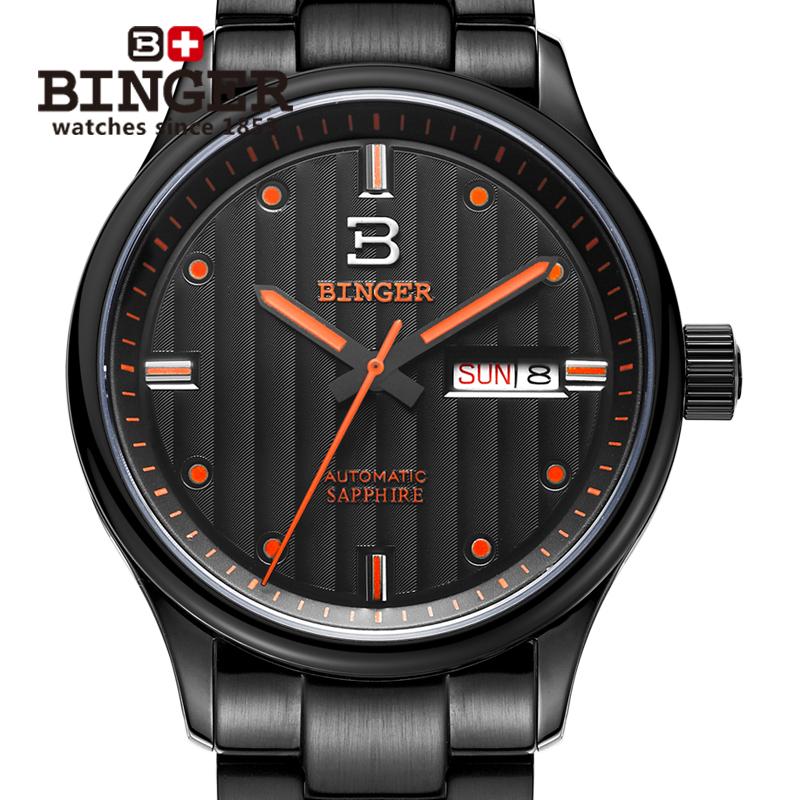 Genuine Swiss BINGER Brand Men watch full steel automatic mechanical fashion sports sapphire calendar waterproof free shipping(China (Mainland))