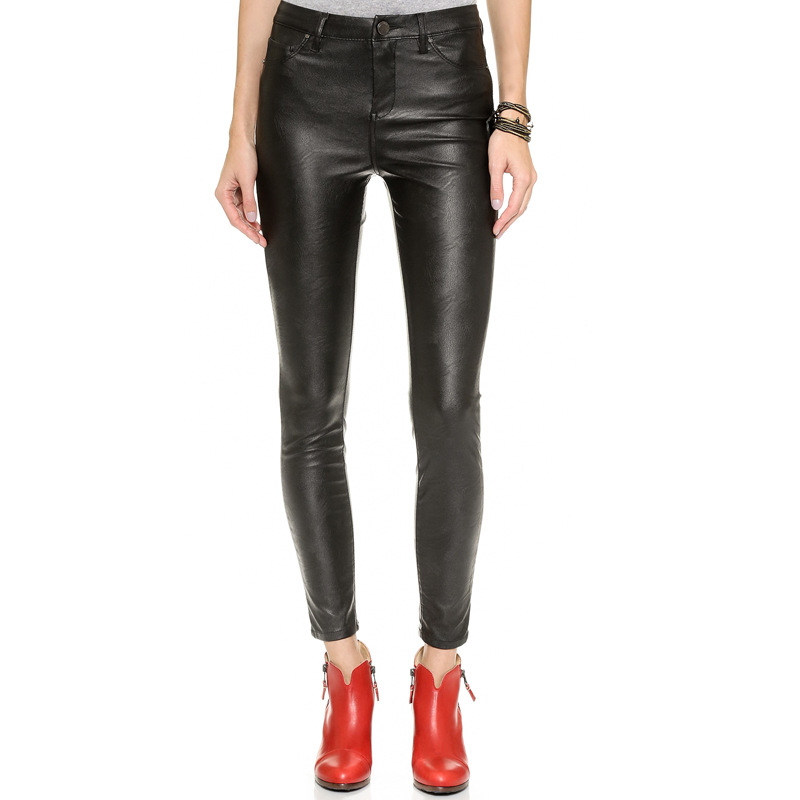 SKY 2015 Women's New Fashion Bottom 5 European and American Really Slim waist pants pocket feet PU leather single button zip(China (Mainland))