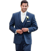 Blue Business Suit Mens Wedding Suits Bridegroom Three-piece(jacket+pants+vest+tie)