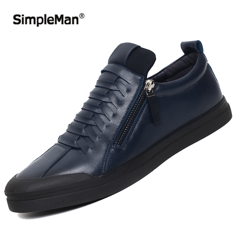 2016 Men's Genuine Leather Shoes Breathable Casual Leather Men Shoes Handmade Zipper Sport Male Shoe Black Navy Red 6~ 10(China (Mainland))