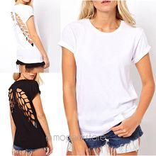 New 2015 summer women fashion t shirt laser backless angel wings women's White Black shorts tops & tees t-shirt XE1426(China (Mainland))